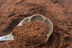 Cofee de tierra en la cuchara de plata Fotografía de archivo libre de regalías