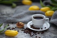 Cofee e tulipani Immagine Stock