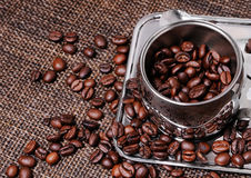 Cofee en bonen Stock Foto's