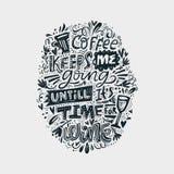 Cofee en wijn het van letters voorzien Stock Fotografie