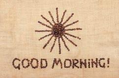 Cofee fasoli dzień dobry Zdjęcia Stock