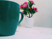 Cofee and flowers. In this picture cant see a delicious cofee and beautiful pinkies flowers stock photography