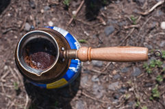 Cofee kettle. On the fire Royalty Free Stock Photography