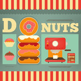 Cofee machine, donuts and sweet cakes. Royalty Free Stock Image