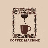 Cofee machine icon set of icons. Cofee machine icon set of small icons Stock Photo