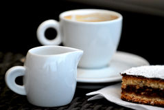 Cofee milk and cake. Breakfast in the morning - cofee with milk and cake stock photography
