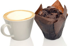 Cofee and muffin. Cofee and chocolate muffin  on a white background Royalty Free Stock Photos
