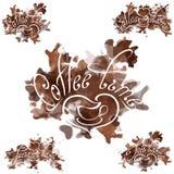 Cofee plamy Cofee czasu inskrypcja na brązu abstrakcie dostrzegał tło royalty ilustracja