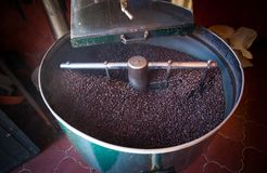 Cofee roaster. Roasting beans of cofee with an artigianal roaster Royalty Free Stock Photos
