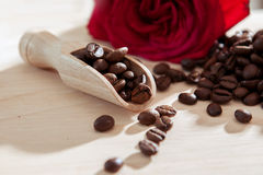 Cofee scoop with roses Royalty Free Stock Image