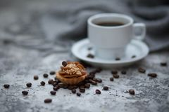 Cofee and sweet cupcake. Cup of cofee and sweet cupcake Royalty Free Stock Image
