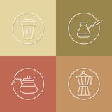 Cofee time linear icons set 01 Stock Images