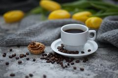 Cofee and yellow tulips. Cup of cofee and yellow tulips Royalty Free Stock Photo