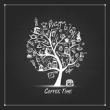 Cofee Zeit Kunstbaum für Ihre Auslegung Lizenzfreie Stockfotos