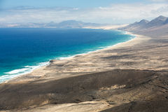 Cofete beach, view from Jandia peninsula, Fuerteventura. Canary Islands, Spain royalty free stock images