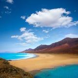 Cofete Fuerteventura beach at Canary Islands Stock Photos