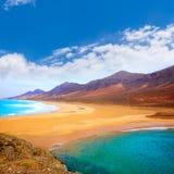 Cofete Fuerteventura beach at Canary Islands. Cofete Fuerteventura Barlovento beach at Canary Islands of Spain Royalty Free Stock Photos