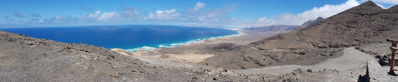 Cofete Fuerteventura canary islands spain. Most famous landscape called cofete on Fuerteventura spain canary Islands in the atlantic ocean stock image