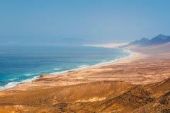 Cofete strand i den Fuerteventura ön, Spanien Arkivbild
