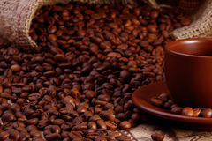 Coffe杯子和豆 免版税图库摄影