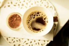 黑coffe杯子顶视图 免版税库存图片