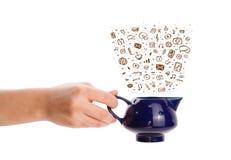 Coffe может с нарисованными рукой значками средств массовой информации Стоковое фото RF