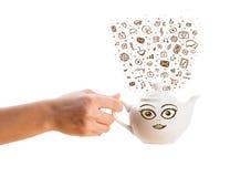 Coffe может с нарисованными рукой значками средств массовой информации Стоковая Фотография