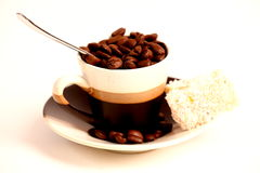 Coffe. Beans on white background royalty free stock photos