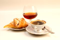 Coffe. Roll and cup of coffe stock image