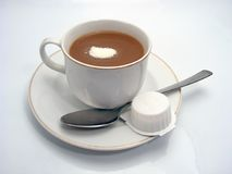 Coffe. Cup with teaspoon plate and milk Stock Images