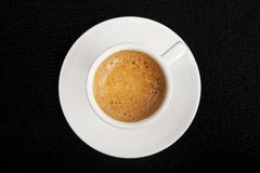 Coffe. Expresso coffe on black background view from top Stock Images