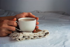 Coffe avec du lait pour le petit déjeuner Images libres de droits