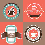 Coffe with banner label  ribbon design Stock Images