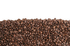 Coffe beams isolated. Landscape picture of brown Coffee beams texture over a white background stock image