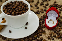 Coffe bean still life. Still life with coffee beans and coffee on the plate Stock Photo