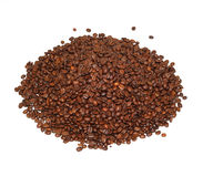 Coffe beans. A pile of roasted coffe beans, isolated on white background Stock Photos