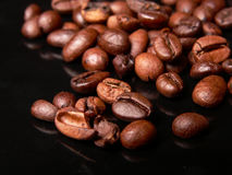 Coffe beans!. Coffee beans close up on a black board Stock Image