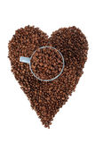 Coffe beans background with heart Royalty Free Stock Image