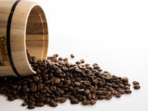 Coffe beans and barrel. With White background Stock Photo