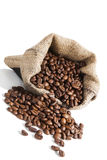Coffe beans in brown sack. Royalty Free Stock Image