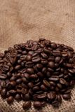 Coffe beans on burlap fabric Stock Images