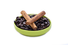 Coffe beans and cinnamon Royalty Free Stock Photography