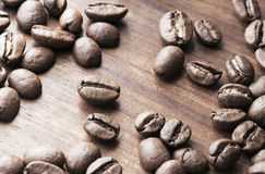 Coffe beans close up view Stock Images