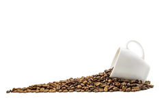 Coffe beans with cup Stock Photos