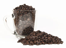 Coffe Beans and Glass Mug Stock Photos