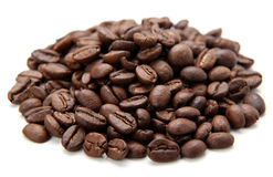Coffe Beans Isolated On White Background Royalty Free Stock Photos