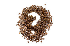 Coffe beans questionmark Royalty Free Stock Photos