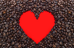 Coffe beans with red heart.  Stock Image