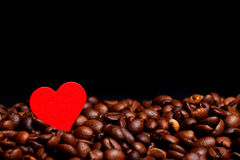 Coffe beans with red heart Stock Image
