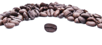 Coffe beans in round Royalty Free Stock Photo